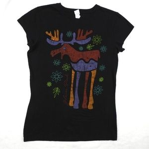 Tops - Womens T Shirt Black Fitted Tee Christmas Reindeer